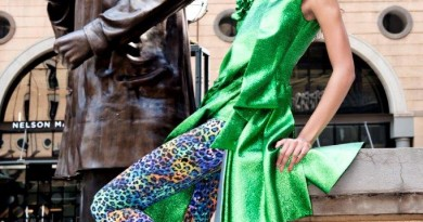 Model posing at Mandela Square