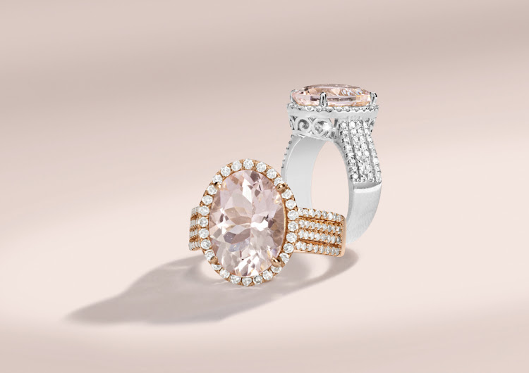 Flamingo 5ct Pink Morgante ring enhanced by diamonds and set in 18ct pink or white gold, R59,999