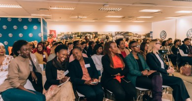 Excited guests and speakers sharing and celebrating their start-up stories at the LEAN IN with Lionesses of Africa and Volkswagen event held at the Volkswagen Training Academy in Centurion